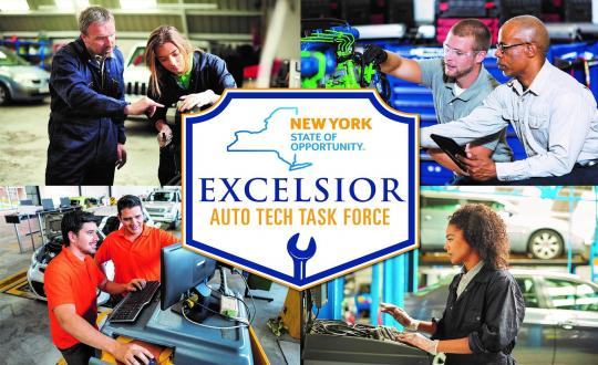 Excelsior Auto Tech Task Force Logo with collage of auto tech students learning on the job