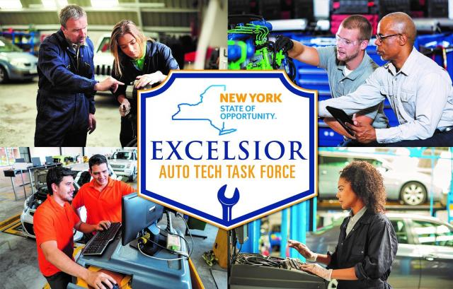 Excelsior Auto Tech Task Force Logo with pictures of auto technician students surrounding the logo
