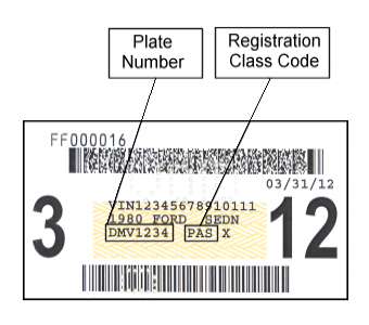 Sample Vehicle Registration window Sticker