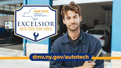 "Image of a mechanic with the words ""Excelsior Auto Tech Task Force"" in a shield"