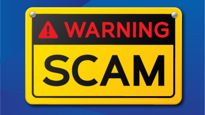 Sign with warning about scams
