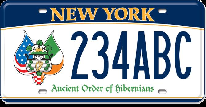 Image of a Ancient Order of Hibernians custom plate
