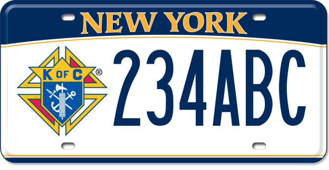 Image of a Knights of Columbus custom plate