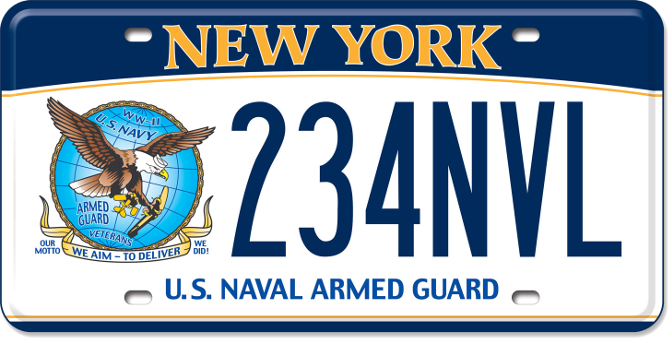 Image of a US Naval Armed Guard custom plate