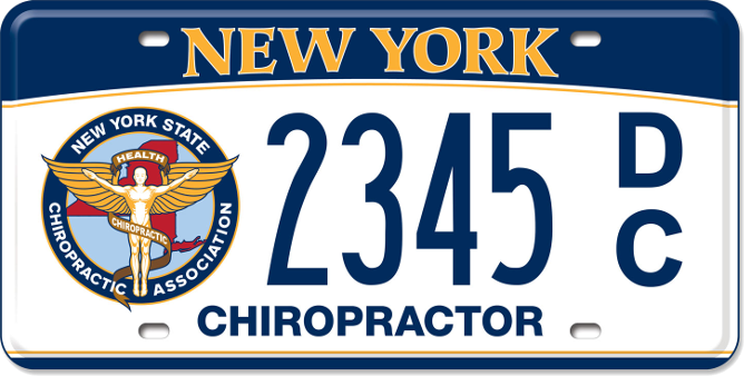 Image of a NYS Chiropractor Association custom plate