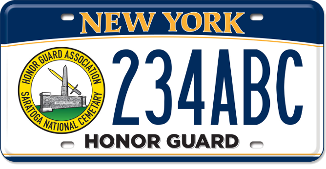Image of a Saratoga National Cemetery Honor Guard custom plate