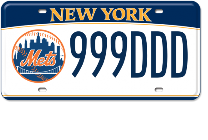 Image of a NY Mets custom plate