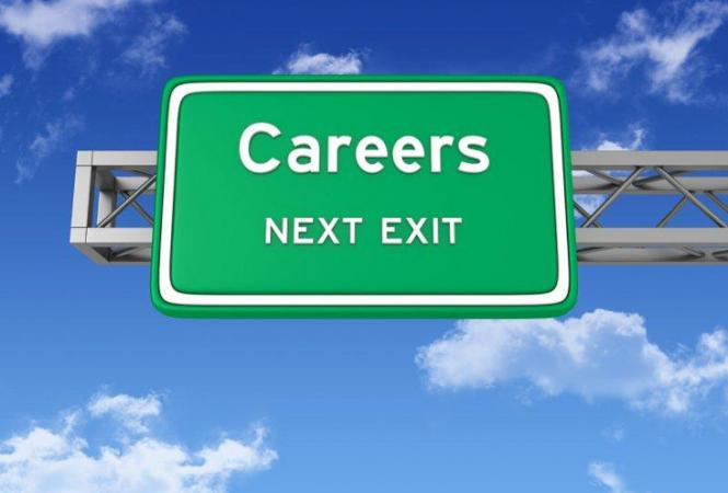 Image of a highway sign with the word Careers