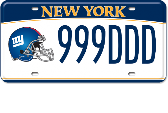 Image of a NY Giants custom plates
