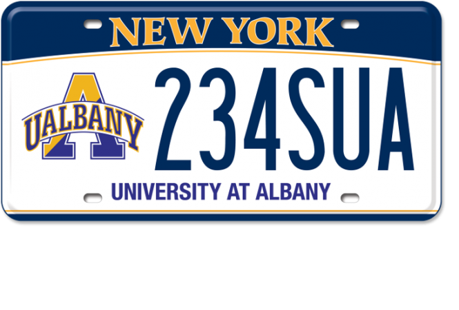 Image of a University at Albany custom plate