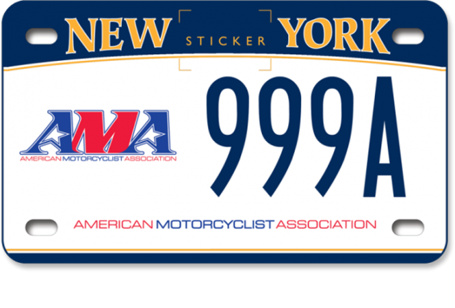 Image of an American Motorcyclist Association motorcycle custom plate