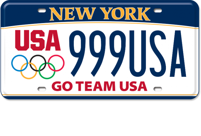 Image of a US Olympic Custom Plate