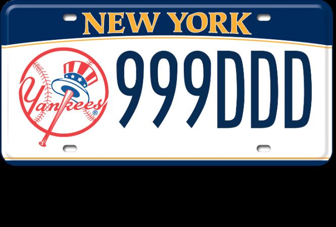 Image of a NY Yankees custom plate
