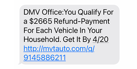 Phishing text from 4/19/21