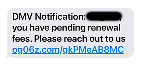 Phishing text from 5/25/2021