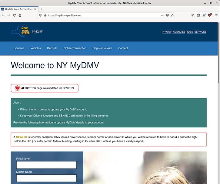 Example of New York State MyDMV scam