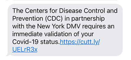 Sample of a scam text