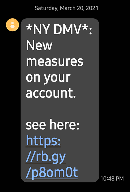 Example of New York State text message scam