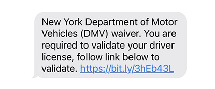 First phishing text from 6/30/2021