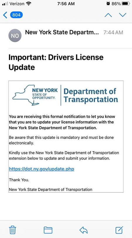 Example of New York State email scam
