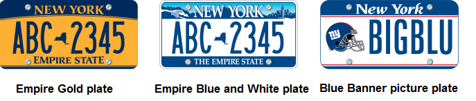 Image of Empire Gold, Empire Blue and White, and Blue Banner Picture plates.