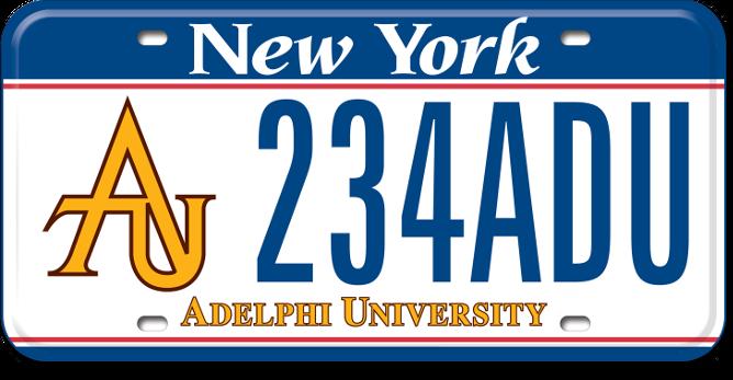 Adelphi University custom plate