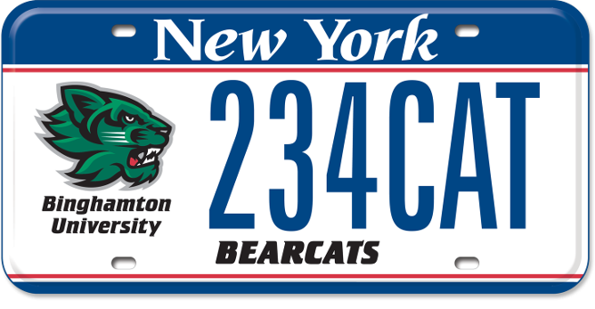 Binghamton University custom plate