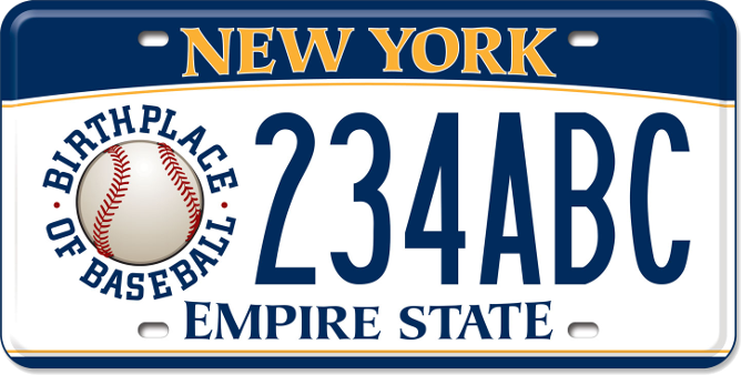 Birthplace of Baseball custom plate
