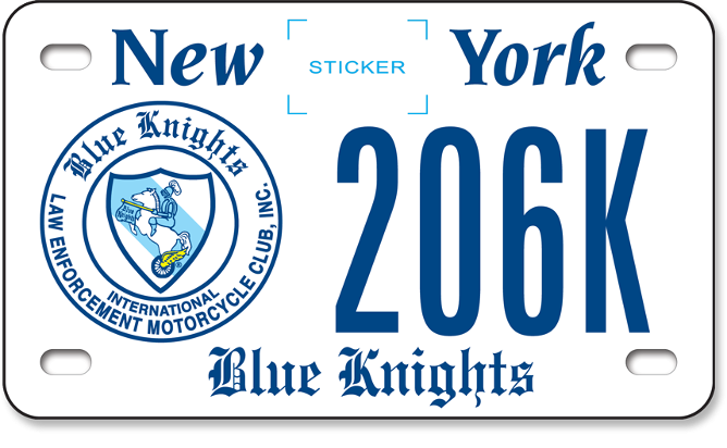 Blue Knights custom motorcycle plate
