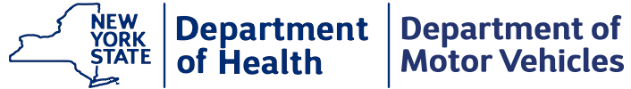 New York State logo that states Department of Health; Department of Motor Vehicles