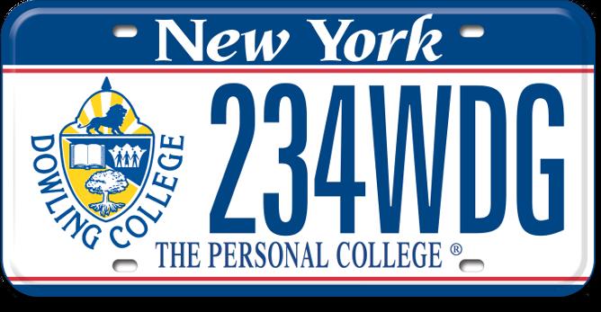 Dowling College custom plate