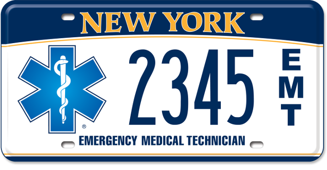 Emergency Medical Technician custom plate