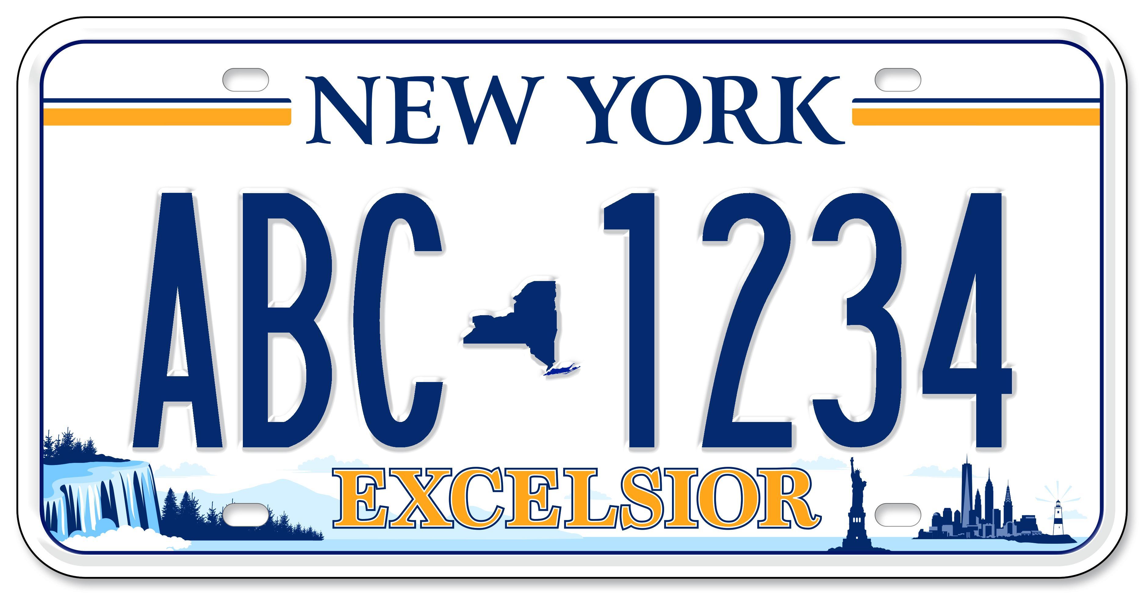 New York license plate design with state landmarks across the bottom
