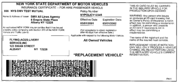 Image of Insurance Certificate - For Hire Passenger Vehicle (FH-1)