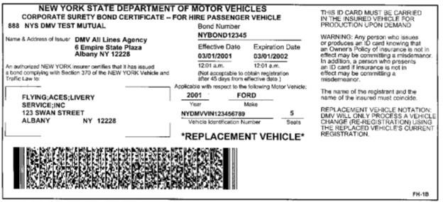 Image of Corporate Surety Bond Certificate - For Hire Passenger Vehicle (FH-1B)