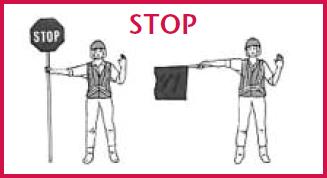 flag woman - stop