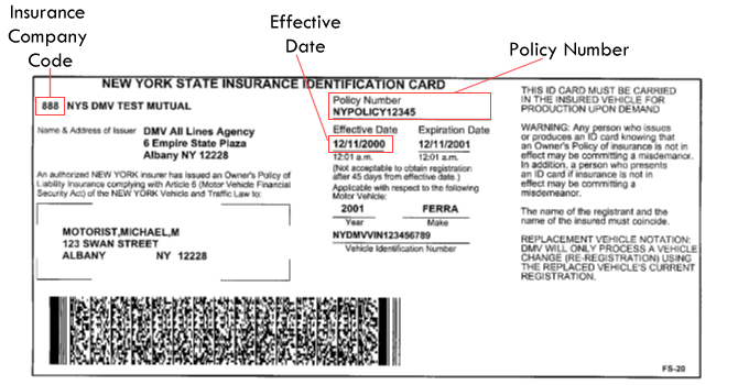 New York DMV | Sample NY State Insurance ID Cards