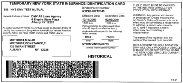 Image of Temporary NYS Insurance ID Card (FS-21)