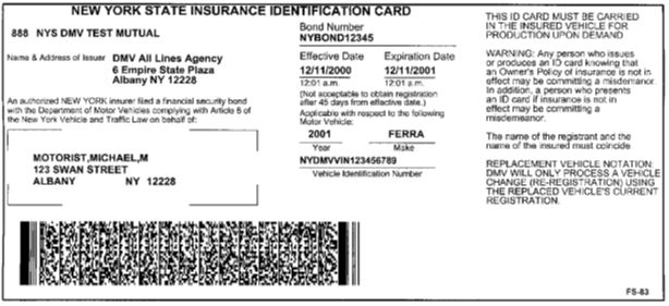 Image of NYS Insurance ID Card (FS-83)