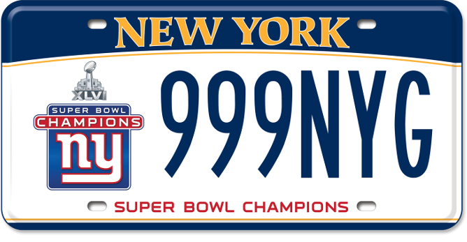 Giants Super Bowl Winner 2012 custom plate