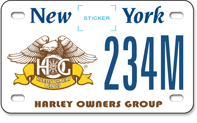 Harley Owners Group custom motorcycle plate