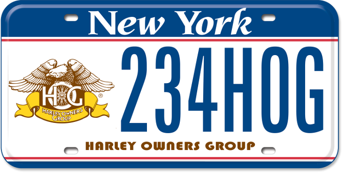Harley Owners Group custom vehicle plate