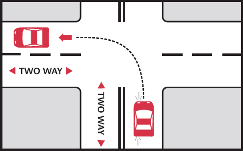 left turn from a two way road into a two way road