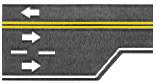 lane markings for lane ends