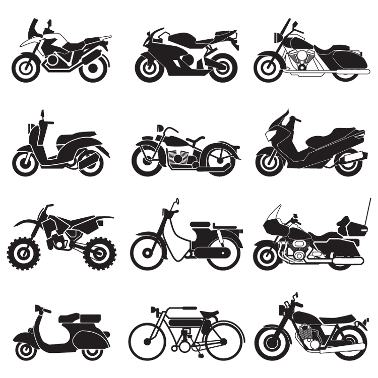 Cruisers, Standards, Dual-sport, Off-road, Sport bikes, Tourers, Mopeds, and Scooters