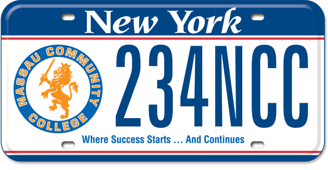 Nassau Community College custom plate