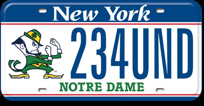 Notre Dame custom plate