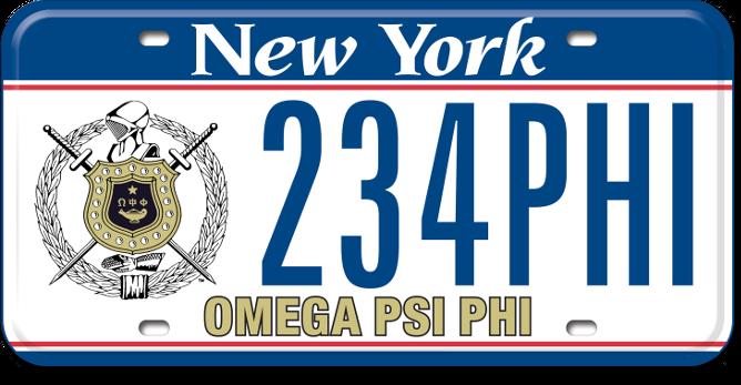 Omega Psi Phi custom plate