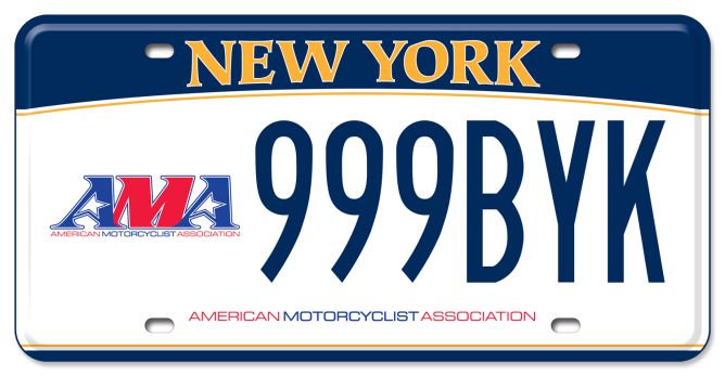 American Motorcyclist Association custom vehicle plate