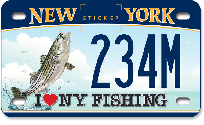 I Love NY Fishing - Striped Bass custom motorcycle plate